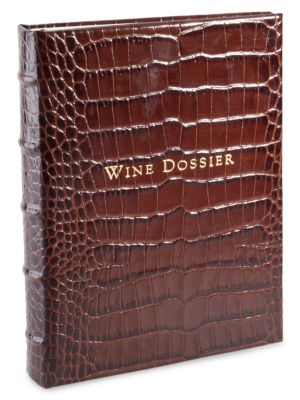 Croc-Embossed Tabbed Leather Wine Dossier