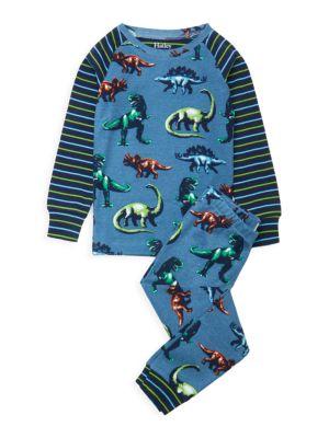 Little Boy's & Boy's 2-Piece Painted Dinosaurs Pajama Set