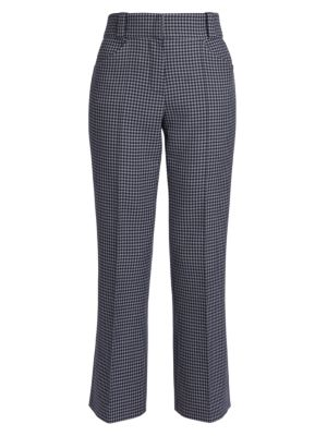 Gingham Cashmere-Blend Tailored Pants