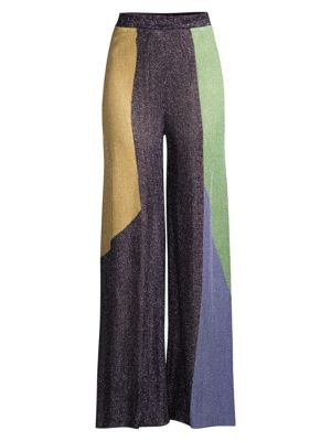 Colorblock Knit Wide-Leg Pants