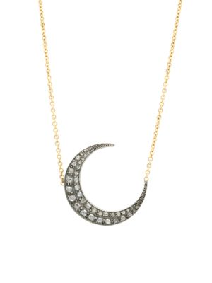 Victorian 18K Yellow Gold, Silver & Diamond Crescent Moon Pendant With Necklace