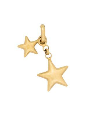 Vintage 18K Yellow Gold Dual Star Charm