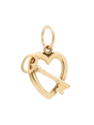 Vintage 14K Yellow Gold Heart & Key Charm
