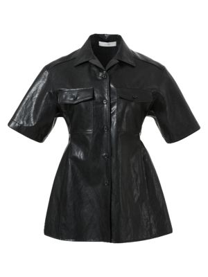 Faux-Leather Collared Shirt
