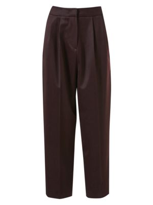 Cropped Wool Tuck Pants