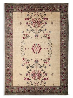 One-Of-A-Kind Linen Contemporary Wool Hand-Knotted Area Rug