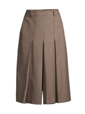 Ortica Check Wide-Leg Cropped Pants
