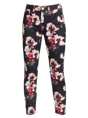 Printed Sateen Cropped Skinny Jeans