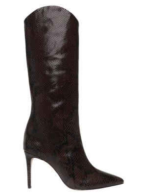 Maryana Knee-High Lizard-Embossed Leather Boots