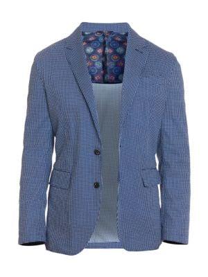 Tailored-Fit Hamilton Seersucker Mini-Check Sportcoat