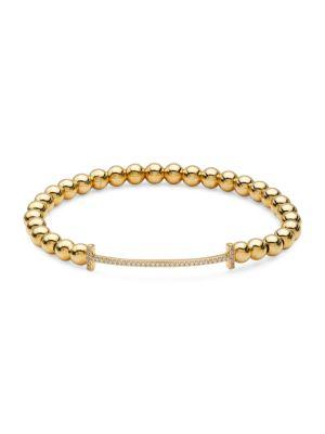 18K Goldplated Sterling Silver T Beaded Bracelet