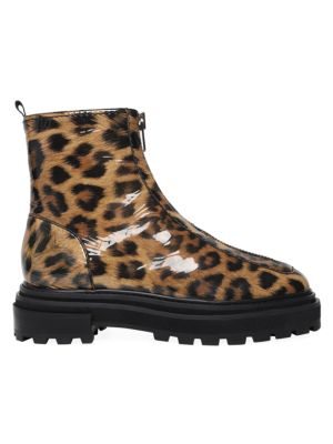 Maryele Leopard-Print Patent Leather Combat Boots