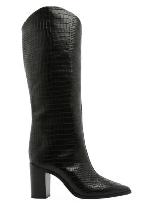 Analeah Lizard-Embossed Leather Boots