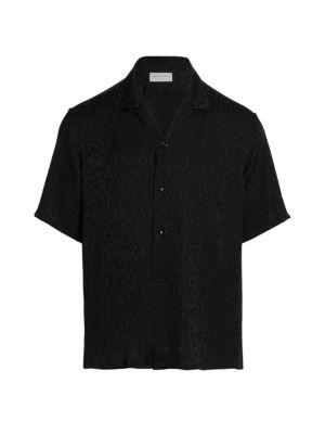 Silk Jacquard Short-Sleeve Shirt