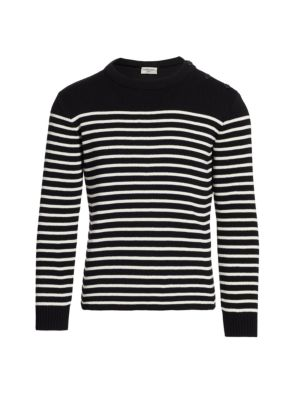 Button-Shoulder Striped Sweater