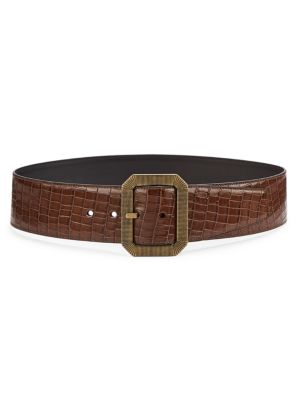 Snake-Embossed Leather Belt