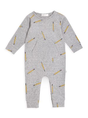 Baby Boy's Pencil-Print Long-Sleeve Coverall