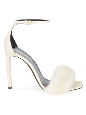 Mink Fur-Trimmed Leather Sandals