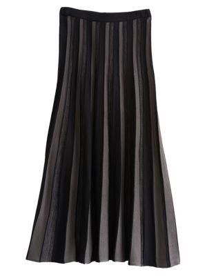 Two-Tone Sunburst Knit Skirt