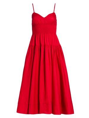Smocked Poplin Maxi Dress