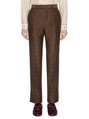 Tailored GG Stripe Wool Silk Pants