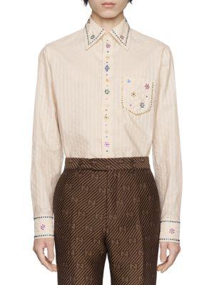 Pinstripe Cotton Crystal Shirt