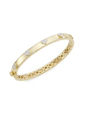 14K Yellow Gold & Pavé Diamond Heart Hinge Bangle