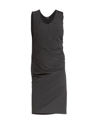 Tech Stretch Ruched V-Neck Dress
