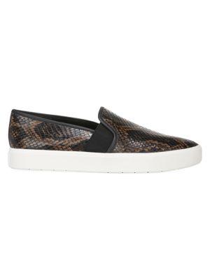 Blair Snakeskin-Embossed Leather Slip-On Sneakers