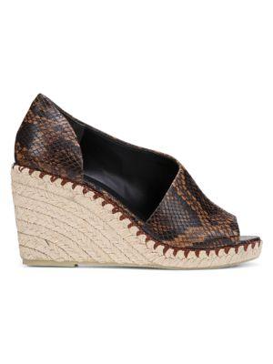 Sonora Peep-Toe Snakeskin-Embossed Leather Espadrille Wedge Sandals