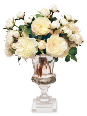Everyday Floral Imitation Spray Rose In Glass Roma Cut Vase