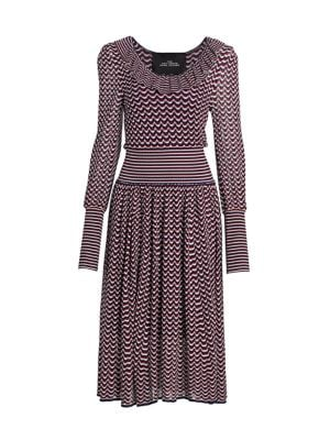 The Knit Blouson-Sleeve Midi Dress