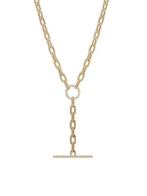 14K Yellow Gold & Diamond Toggle Pendant Necklace