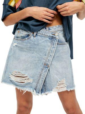 Parker Wrap Denim Mini Skirt