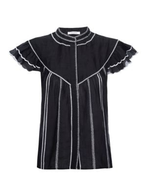 Embroidered Ruffle Ramie Blouse