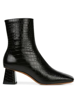 Koren Square-Toe Croc-Embossed Leather Ankle Boots