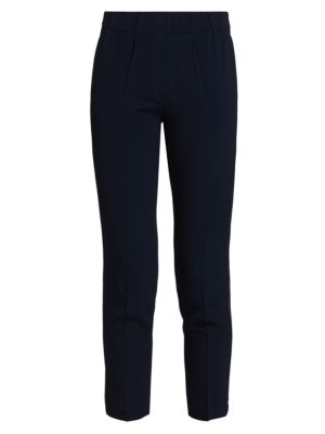 Stretch-Silk Monili-Trim Pull-On Pants