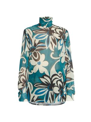Tropical Floral Sheer Turtleneck Blouse