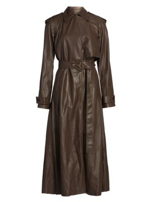 Long-Line Leather Trench Coat