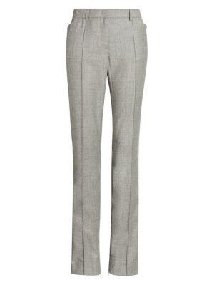 Slim Leg Wool-Blend Ankle Zip Pants