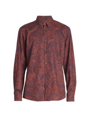 Corbino Paisley-Print Long-Sleeve Button-Front Shirt