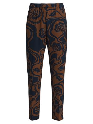 Palmira Printed Crepe Pull-On Pants