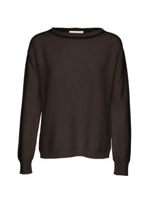Brilliant-Trim Herringbone Stitched Sweater