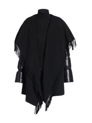 Mantella Puffer-Sleeve Wool Cape