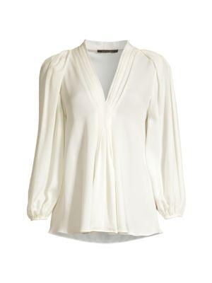 Jordana Pleated-Sleeve Blouse