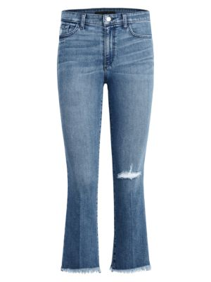 The Callie High-Waist Frayed Bootcut Ankle Jeans