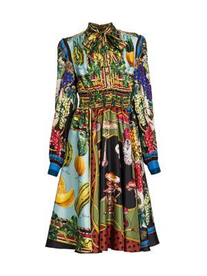 Multi-Fruit Printed Silk Shirtdress
