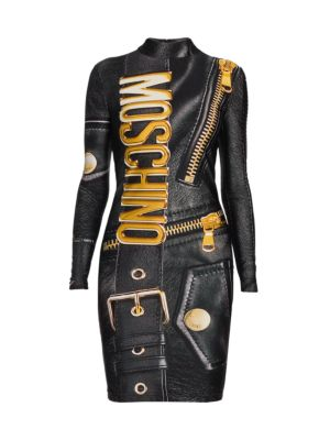 Mockneck Logo Faux Leather Bodycon Dress