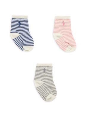 Baby Girl's 3-Pack St James Striped Crew Socks