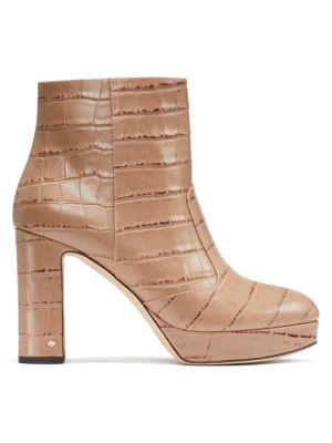 Barrett Croc-Embossed Leather Platform Ankle Boots
